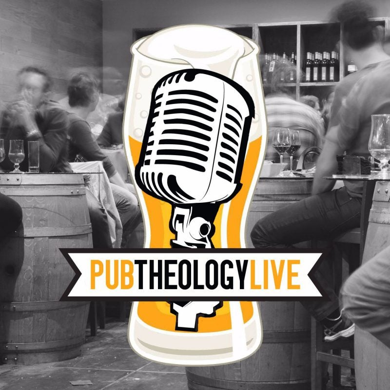 Pub Theology Live podcast image of a radio microphone on a glass of ale in a bar
