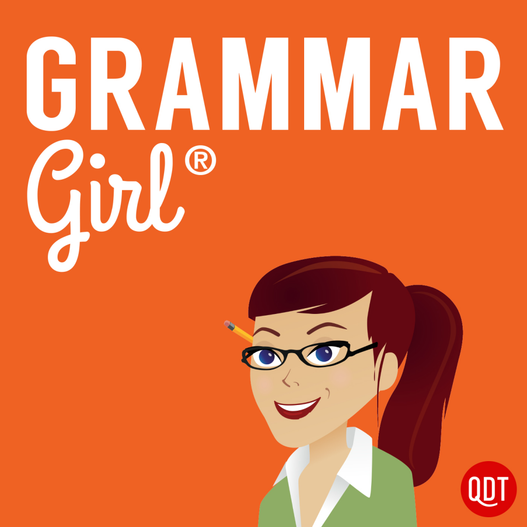 Grammar Girl with girl that has pencil behind her ear