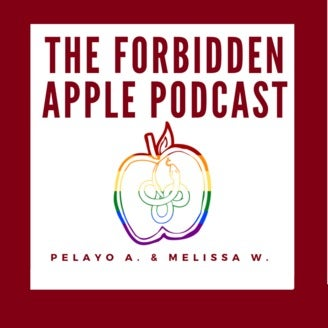 The Forbidden Apple Podcast promotional image of a rainbow apple