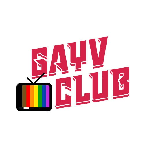GayV Club podcast promotional image of rainbow pattern on TV screen
