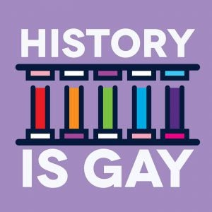History is Gay podcast promotional image of rainbow Greco-Roman columns