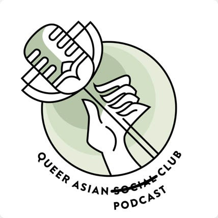 Queer Asian Social Club Podcast promotional image drawn microphone flower in hand