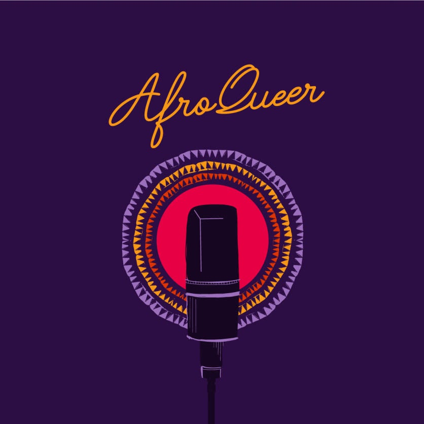 AfroQueer podcast promotional image of mic on purple with colorful glow