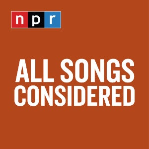 NPR's music news podcast All Things Considered's logo features the NPR red, black and blue logo above the all-white text of the title.