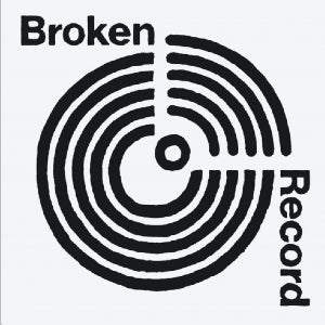 The logo for the podcast, Broken Record, features an all-white background with a black-and-white circle that looks like an album.