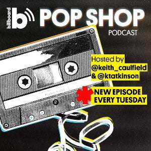 The official seal for Billboard's Pop Shop Podcast features the mag's logo and a black-and-white old-fashioned tape unraveling.