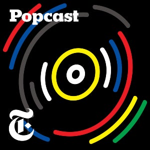 "The logo for Popcast features the New York Times' ""T"" at the outer edges of a music disc."