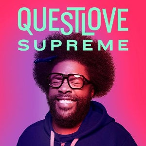 The logo of Questlove Supreme features the famed musician with his trademark afro and pick tucked into it, all while his eyes are closed and he's smiling.