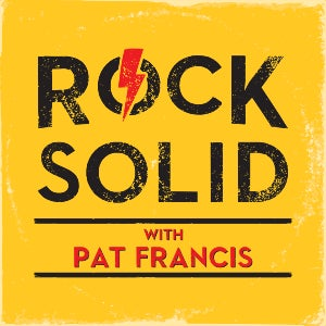 "The logo for Rock Solid features a yellow background with the show's moniker in black text—and adds a red lightning bolt through the ""O"" in Rock."
