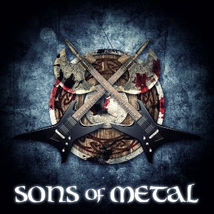 The logo for Sons of Metal features the show's title in Renaissance font below a pair of axes, and another pair of axes (as in guitars!).