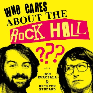 The logo for the podcast Who Cares About the Rock Hall?