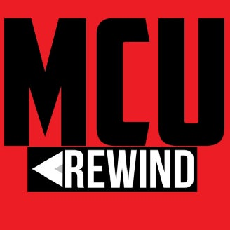 The official logo for the Marvel podcast show, MCU Rewind.