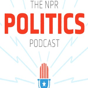 The logo for the NPR Politics podcast features the moniker, and a red, white and blue microphone!