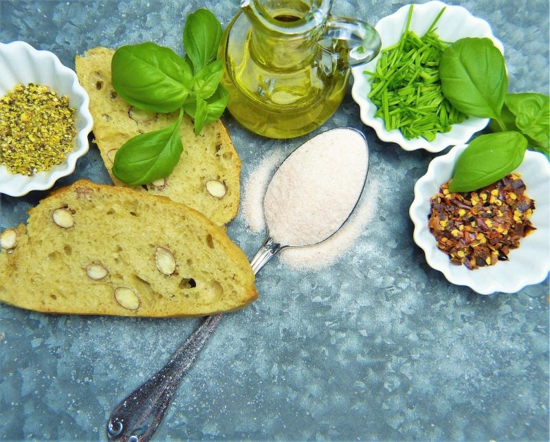 Gluten-free bread, almond flour, herbs and spices
