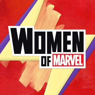 The logo for the Marvel-centric podcast, Women of Marvel.