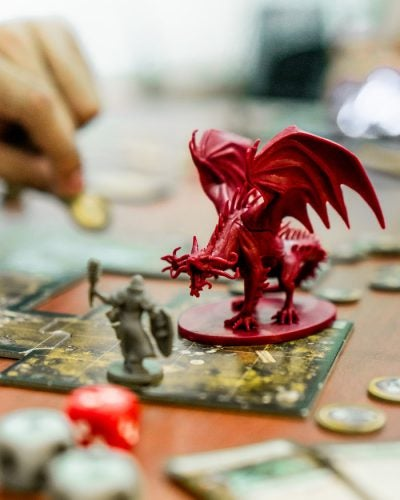 D&D game with dragon
