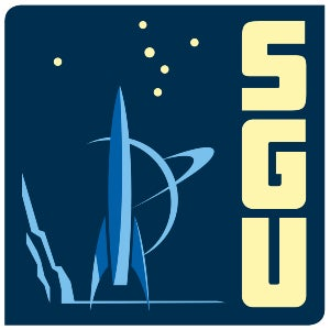 The logo for The Skeptics' Guide to the Universe features a futuristic-looking rocket with what looks like Saturn in the background.