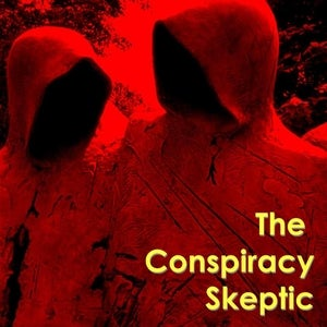 The Conspiracy Skeptic logo finds two shadowy figures, both with hoods.