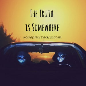 The logo for The Truth Is Somewhere finds a couple of people in alien masks sitting in the front seat of a car.