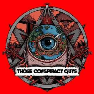 The logo for Those Conspiracy Guys features a Pentecostal star, a triangle, a devil's pitchfork, a mushroom cloud, and the podcast's moniker… all under a red background.