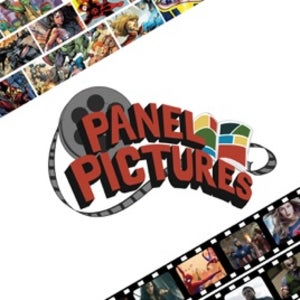 The logo for Panel Pictures has a series of comic book movies' stills and the show's moniker.