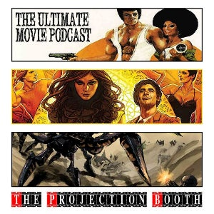 Various famous films, such as Blacksploitation pictures and martial arts films, fill the logo for The Projection Booth.