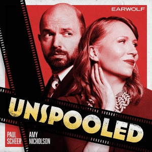 Amy Nicholson and Paul Scheer pose on top of their podcast's logo.