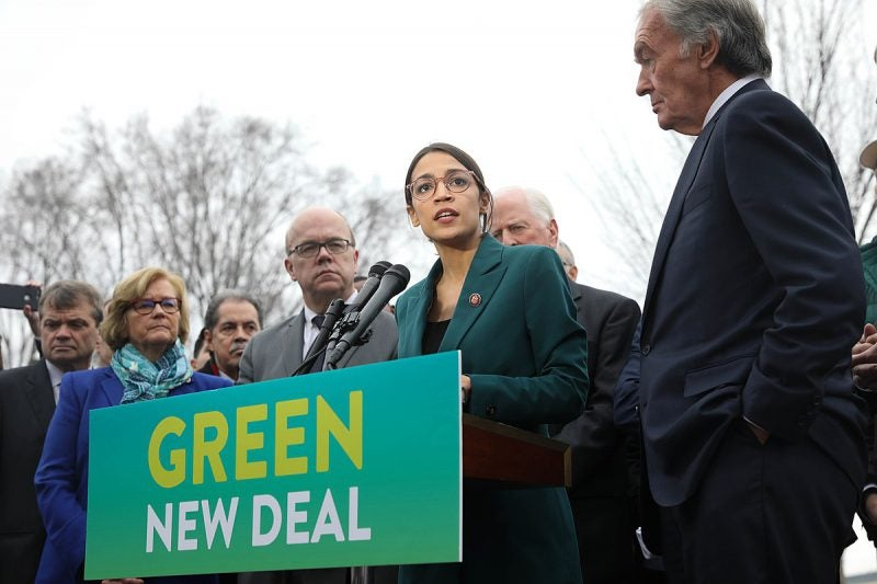 AOC at the announcement of the green new deal